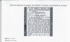 Divorce Decree in Reno, Nevada newspaper between Walter C Foster and Edith Knapp Foster; July 27, 1946