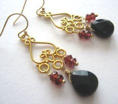 SALE Salma Bali Onyx and Garnet Earrings 30 off  $28.00 was 42 http://www.etsy.com/listing/50080021/sale-salma-bali-onyx-and-garnet-earrings?ref=correlated_featured