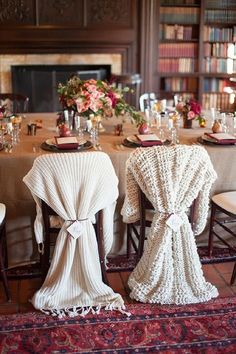 Dress up a winter wedding couple's reception chairs with cozy blankets l Rahel Menig Photography l MyWedding.com