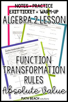 Need a ready-to-print lesson to teach function transformations of absolute value functions? This introductory lesson includes a warm-up and exit ticket too! Algebra 2 Worksheets, Algebra Lessons, Algebra 1, Absolute Value, Lesson Plans, Ticket, Curriculum, Keys, Warm