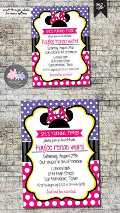 Minnie Mouse Birthday Invitation  Minnie by PurplelephantDesigns