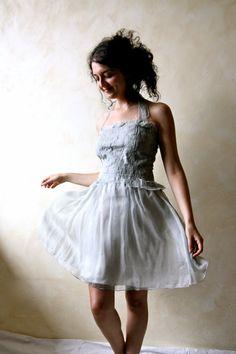 Silk dress, short wedding dress, prom dress, reception dress, wedding gown, halter dress, mini dress, fairy dress, evening dress, short gown by LoreTree on Etsy https://www.etsy.com/listing/157366782/silk-dress-short-wedding-dress-prom