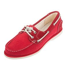 Timberland Womens Classic Boat Red Leather and Fabric Shoe 9A14LV -- Check out this great product.