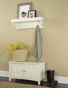 The Shaker Cottage wall hanging Coat Hook with Tray / Shelf and Storage Cabinet with Bench Set can be used anywhere you need a bit more organization. A tray shelf allows you to display favorite items and eight coat hooks help keep everything neat while you sit on the sturdy bench to remove your shoes. The coat hook is easy to assembled and includes a French cleat for easy hanging and the bench is easy to assemble.
