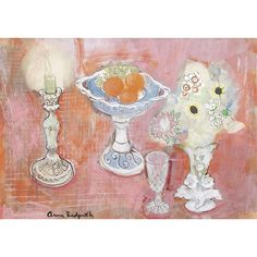 Anne Redpath, still life with a candlestick and fruit bowl
