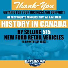 We are proud to announce that #EastCourt has made #History in #Canadian #Automotive #Industry by selling 515 #New #Ford #Vehicles 😎 in a month (September 2020). The whole team of #EastCourtFord Would like to Thank 🙏 Ontario for your support and trust in the deals & service! #BestDealer #LargestDealer #Toronto #GTA #Deals #StayTuned Ford Vehicles, Automotive Industry, Driving Test, Gta, Lincoln, Ontario, Toronto, Trust, September