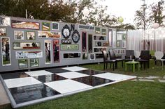 A mirror wall punches up a backyard reception
