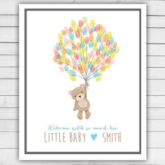 Teddy bear Baby shower guestbook thumbprint by Anietillustration