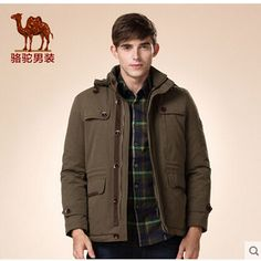 Camel men's coats 2015 new winter detachable hat takeoff zipper thick outerwear men long-sleeved jacket