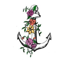 "Vintage Anchor with Flowers Temporary Tattoo, Set of 2, Size - 2"" x 3"". Set includes 2 temporary tattoos. Tattoo size 2"" x 3"". Very realistic. Easy to apply with water, remove with skin safe household oil. Can last 1-3 days. #TemporaryTattooRemoval"