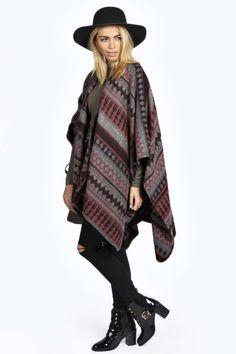 maroon poncho coat.