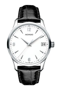 Simple. Clean. A perfect everyday watch. Movado 'Circa' Round Leather Strap Watch | Nordstrom