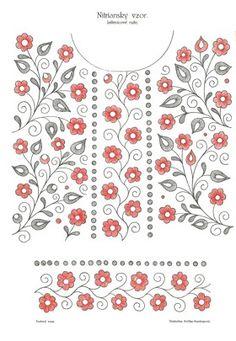 Stiahnite si predlohu na vyšívanie s nitrianskym vzorom jaštericové ruže Embroidery Neck Designs, Floral Embroidery Patterns, Embroidery Suits Design, Hand Embroidery Patterns, Embroidery Stitches, Free Crochet Doily Patterns, Collar Pattern, Button Crafts, Watercolor Pattern