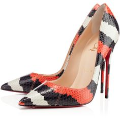Christian Louboutin So Kate (€970) ❤ liked on Polyvore featuring shoes, pumps, heels, christian louboutin, louboutin, multi, new arrivals, pointed toe high heel pumps, red sole pumps and high heel stilettos