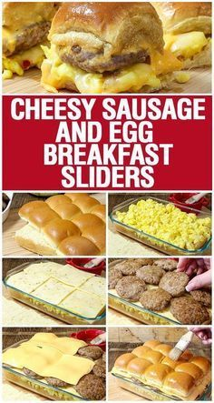 breakfast sliders Cheesy Sausage and Egg Breakfast Sliders are a fully loaded perfectly portable hand held breakfast. All of your favorite breakfast fixin Sausage Breakfast, Breakfast Casserole, Egg Casserole, Casserole Recipes, Vegetarian Recipes, Cooking Recipes, Healthy Recipes, Brunch Recipes, Breakfast Recipes