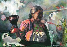 """Saatchi Arte Artista: Daniel Levy; Acrílico Pintura 2012 """"gato y bruja blanca"""""""