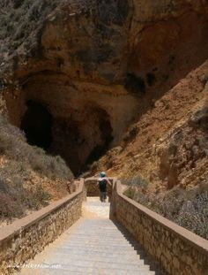 Descent to Ponta da Piedade  rock formation, Lagos Portugal