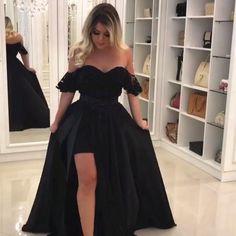 Elegant Black Lace Off The Shoulder Prom Dresses With Leg Slit