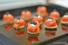 Cold Canape - Dill blinis with Inverawe smoked salmon and crème fraiche and sustainable caviar