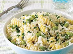 Pasta with Ricotta and Edamame Recipe ... ricotta, Parmesan, salt and pepper, pasta, edamame, mint ... stovetop ... under 30 min