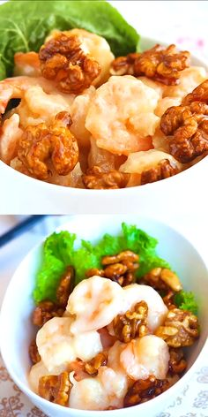 Honey Walnut Shrimp - Crunchy shrimp with honey, candied walnut, and sweet mayo. The BEST recipe for this classic Chinese takeout dish. Seafood Recipes, Gourmet Recipes, Dinner Recipes, Cooking Recipes, Healthy Recipes, Recipes With Shrimp, Chinese Shrimp Recipes, Shellfish Recipes, Ramen Recipes