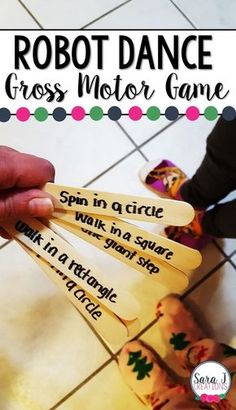 Robot Dance for some gross motor fun. Perfect way to practice following directions, counting, shapes and more.