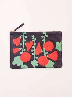 Clare V Flat Clutch - Navy Nubuck with Poppy Hollyhock