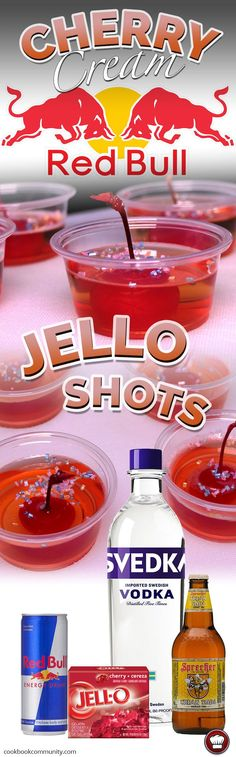 RED BULL CHERRY CREAM JELLO SHOTS - This is possibly the best flavor combination ever in the history of jello shots!