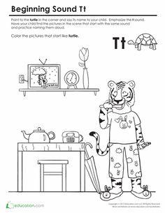Worksheets: Beginning Sounds Coloring: Sounds Like Turtle