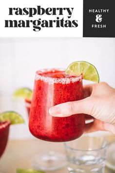 These fruity and fresh frozen raspberry margaritas are perfect to whip up when you need something fresh, easy and delicious. They are made with frozen raspberries, your favorite tequila, chambord (or cointreau) and fresh lime juice. Simple, fresh ingredients are the secret to a great margarita! Have these in your glass in less than 5 minutes! Refreshing Summer Cocktails, Sweet Cocktails, Fruity Cocktails, Frozen Cocktails, Margarita Mix, Margarita Recipes, Frozen Strawberries, Raspberries, Frozen Strawberry Margarita