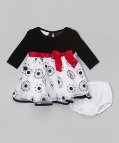 Another great find on #zulily! Black & White Velvet Circle Dress & Diaper Cover - Infant #zulilyfinds