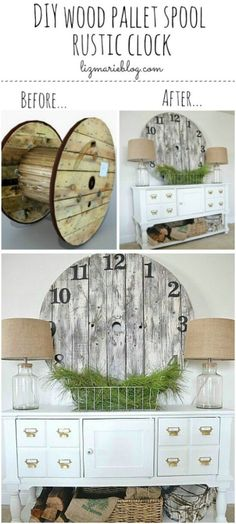 DIY - Wood Pallet Spool Clock, These Spools Are So Difficult To Come By Anymore -- This Entire Look, With The Old Bottles Made Into Lamps Is Great