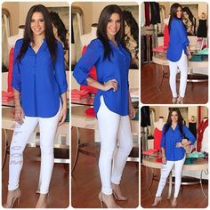 Cobalt top with white jeans
