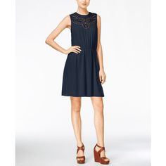 Maison Jules Eyelet-Cutout A-Line Dress, ($65) ❤ liked on Polyvore featuring dresses, blu notte, eyelet dresses, maison jules dresses, party dresses, day party dresses and going out dresses