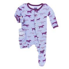 KicKee Pants Little Girls Print Footie (Snaps) - Lilac Running Labs