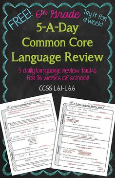 FREE! Daily Common Core Language Review for 6th Grade! Try it out for a full week! Also available for 4th and 5th grades!
