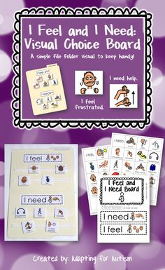 "This I Feel and I Need Visual Choice Board is a simple resource to keep handy. Providing a student with a visual support may allow him to express his needs without having to find the words. Even verbal students can have trouble retrieving the words or articulating what they need. Offering this simple visual can aid a student in saying ""I feel confused. I need help"" or ""I feel frustrated. I need a break."" {Created by Adapting for Autism}"