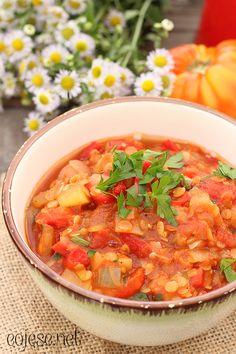 Leczo z soczewicą i pieczarkami (obiad jednogarnkowy) | Zdrowe Przepisy Pauliny Styś