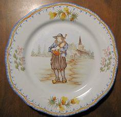 Henriot Quimper Petit Breton Musician Play Bagpipe Art Pottery Plate | eBay