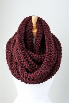 Chunky infinity scarf, oversized infinity scarf, chunky scarf, crochet infinity scarf, crochet shawl in Burgundy or Oxblood Loop Scarf, Scarf Hat, Chunky Crochet Scarf, Crocheted Scarf, Chunky Scarves, Passion For Fashion, Hand Knitting, Autumn Fashion, Cute Outfits