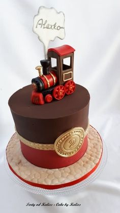 toy train - cake by Kaliss Thomas Cakes, Bakers Gonna Bake, Baby Birthday Cakes, Brownie Cake, Cakes For Boys, Occasion Cakes, Fondant Cakes, Cake Art, Let Them Eat Cake