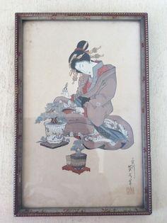 "Eizan Kikukawa (1787-1867) Antique Framed Chromolithograph, Geisha with Bonsai Trees  - ""Pine"" After Japanese Woodblock Print by HarlequinPrints on Etsy"