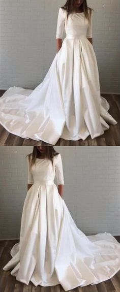 this simple satin wedding gown has pockets ! Wedding Trends, Wedding Styles, Wedding Ideas, Elegant Wedding Dress, Wedding Gowns, Bridal Dresses, Flower Girl Dresses, Wedding Dress With Pockets, Satin