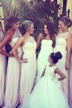 Love these bridesmaids dresses but change the color. They look as formal as the bride