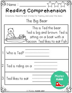 First Grade Reading Comprehension, Phonics Reading, Reading Comprehension Worksheets, 2nd Grade Reading, Reading Passages, Teaching Reading, Beginning Reading, Reading Response, Comprehension Strategies