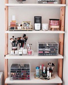 WEBSTA @makeupsessions When your husband builds a shelf, you have to organize right away  I'm sure I'll be changing things up on here but here is a first look. I'm also almost done with my vanity so I'll show you a peak in my bedroom.