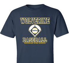 High School Impressions search BSE-002-W; High School Wolverine Baseball T-Shirts- Create your own design for t-shirts, hoodies, sweatshirts. Choose your Text, Ink and Garment Colors.  Visit our other boards for other great designs!
