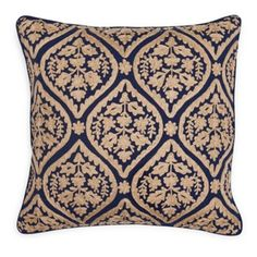 Check out this item at One Kings Lane! Damask 18x18 Cotton Pillow, Navy
