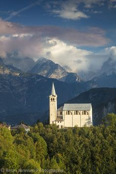 Chiesa di San Martino and the Dolomite Mountains, Italy. © Brian Jannsen Photography