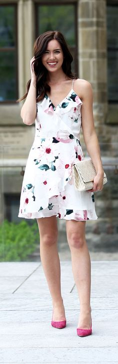 What to wear to a summer garden wedding - wedding guest short dress - floral ruffle dress with open back ON SALE! Dynamite Clothing with Marie's Bazaar